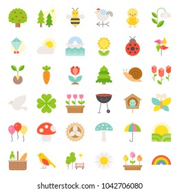 Picnic, nature and spring icon set, such as picnic basket, floral, bird, rainbow, bird nest, playing kite, sun raising, flat icon