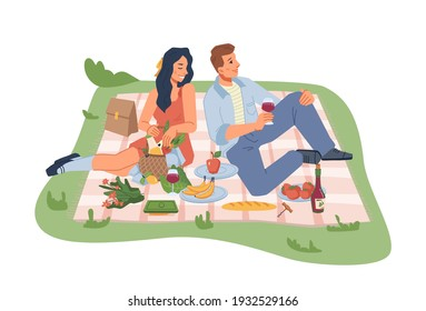 Picnic on nature, man and woman sitting on blanket with wine, fruits and vegetables isolated flat cartoon people. Vector young family coupe resting in park or garden, basket with products, veggies