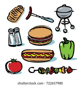Picnic outdoor grilling food icon collection