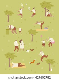 Picnic in the park vector illustration