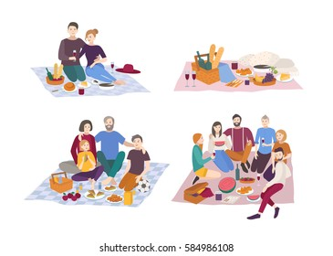 Picnic in park, vector illustration set. Couple, friends, family, outdoors. people recreation scene in flat style.