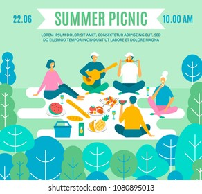 Picnic in park, vector poster. Couple, friends, family, outdoors. people recreation scene in flat style
