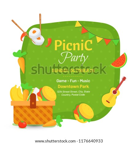 picnic party invitation card design stock vector royalty free