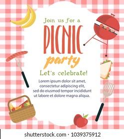 Picnic party invitation card. Vector illustration