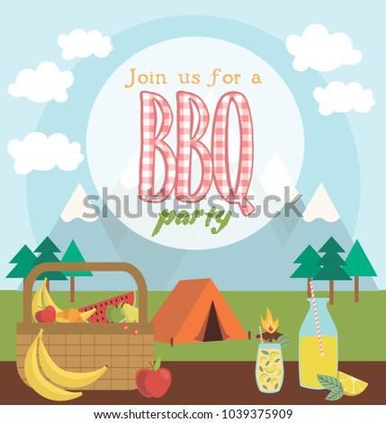 picnic party invitation card vector illustration stock vector