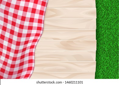 Picnic poster or banner empty background with place for text. Vector realistic illustration of red plaid tablecloth on light wooden table and summer green grass backdrop.