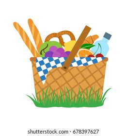 Picnic set: food and water in a basket. Vector illustration
