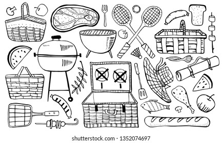 Picnic, summer eating out and barbecue objects set. Outline vector sketch illustration isolated black on white background