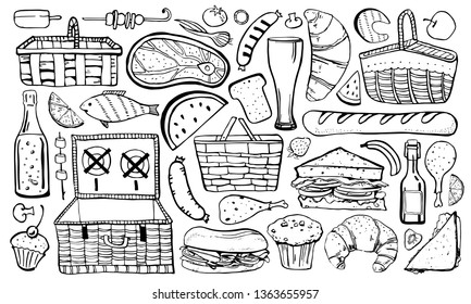 Picnic, summer eating out and barbecue food set. Outline vector sketch illustration isolated black on white background