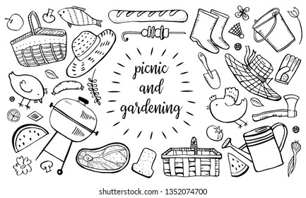 Picnic, summer eating out, gardening and barbecue set. Outline vector sketch illustration isolated black on white background