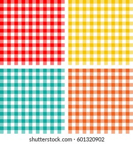 Picnic table cloth. Color square plaid pattern. Vichy seamless texture. Checkered vector background.