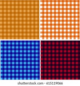 Picnic table cloth. Color square plaid pattern.  Geometrical traditional ornament for fashion textile, cloth, backgrounds. Vector illustration
