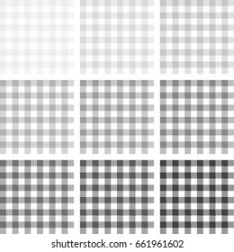 Picnic table cloth.  Grey square plaid pattern. Vichy seamless texture. Checkered vector background.