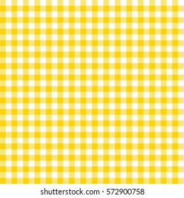 Picnic table cloth. Seamless checkered vector pattern. Vintage  yellow plaid fabric texture.  Abstract geometric vichy background.
