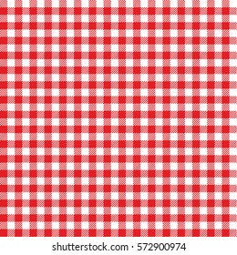 Picnic table cloth. Seamless checkered vector pattern. Vintage red plaid fabric texture.  Abstract geometric vichy background.