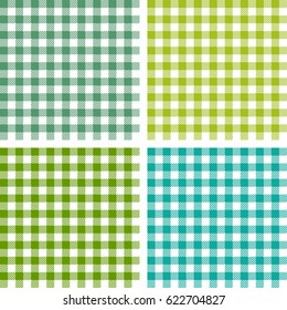 Picnic table cloth. Seamless checkered vector pattern. Vintage green plaid fabric texture.  Abstract geometric vichy background.
