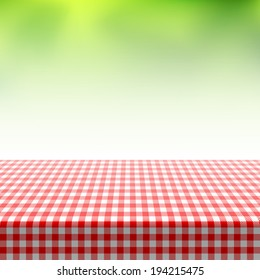 Picnic table covered with checkered tablecloth. Vector.
