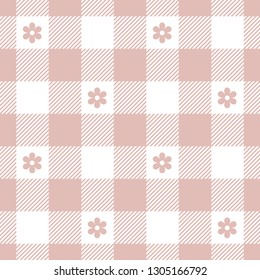 Picnic tablecloth pattern. Vichy / gingham check plaid pattern seamless tile with pink flowers. Floral design.