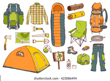 picnic, travel, camping objects set; hand drawn vector illustration in sketch style; hiking colorful elements: tent, axe, sleeping bag, backpack, map, mat, saw, shovel, flask, clothes, rope, matchbox