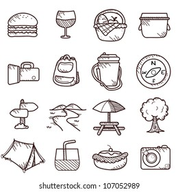 picnic and travel icons - icons, buttons, interface and holiday