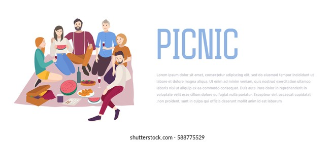Picnic, vector illustration. Friends company together, outdoor relax. people recreation scene in flat style. Background, banner with place for text.