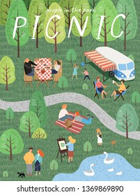 Picnic. Vector illustration of people resting on the nature in the park. Drawing by hand active family weekend in the forest by the lake with a barbecue, bus, children's games, walks. Top view