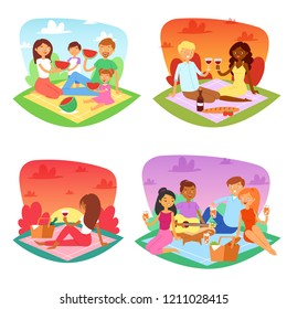 Picnic vector people happy family friends lovely couple picnicking in park illustration set of man woman kids boy or girl picnicking characters outdoors isolated on white background