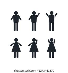 Picto Silhouette people icone human female boy men woman