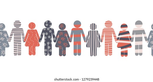 Pictogram border of. Symbols of men and women holding hand. Icons border. Textured colorful silhouettes of woman and man. Stick man symbols for cohesion, team spirit, togetherness, unity, community.