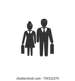Pictogram of a businessman and a businesswoman icon. Business, human resource sign. Looking for talent. Search man vector icon. Job search icon on white background