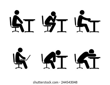 Pictogram Businessman or Student Working on Computer, Thinking and Tiered. Vector illustration