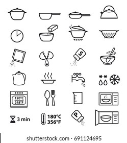 Pictogram for cooking instruction or manual preparation. Vector elements. Ready for your design, packaging, promo and etc.