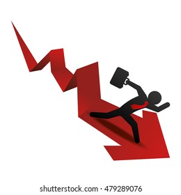pictogram and decline arrow icon. Money financial and economy theme. Isolated design. Vector illustration