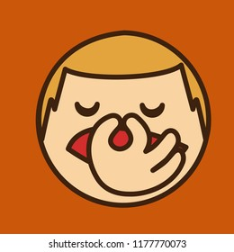 pictogram with dissatisfied blond man pinches his nose in disgust because something smells bad, simple colored emoticon, circle shaped vector emoji in color, ball like personage with thick outlines