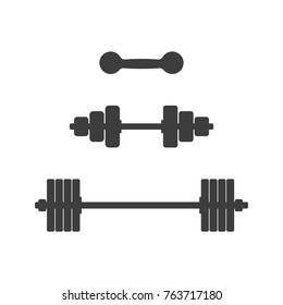 Pictogram of dumbbells and barbells on an isolated white background. Vector illustration