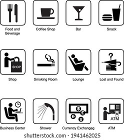 pictogram of eat drink and facilities