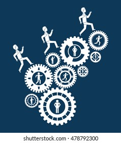 pictogram gears teamwork support collaborative cooperation work icon set. Blue design. Vector illustration
