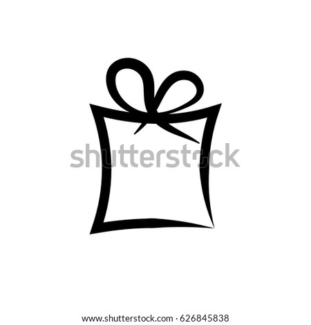 Pictogram Gift Icon Black Icon On 스톡 벡터(사용료 없음) 626845838 ...