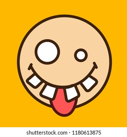 pictogram with goofy face with crooked teeth, differently sized eyes & stupid look that is sticking out tongue with silly & dumb facial expression, simple colored emoticon, eps 10 vector illustration