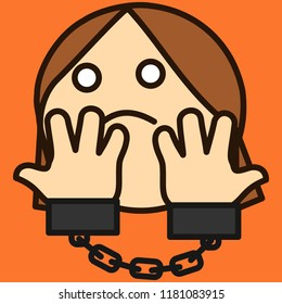 pictogram with Handcuffed woman that is showing her hands, arrested female criminal suspect about to go to jail, ashamed girl under custody in handcuffs, simple colored emoticon, primitive vector art