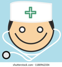 pictogram with happy smiling doctor with a medical stethoscope that is wearing a skullcap with green cross sign, simple colored emoticon, circle shaped vector emoji in color