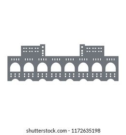 Pictogram of a hydroelectric power station on the Volkhov River, Russia. Sightseeing of the Leningrad Region. It was the first large hydro power plant in Russia. Icon for your designe