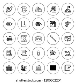 Pictogram icon set. collection of 25 outline pictogram icons with boots, chili, chat, cutters, earth, hamburger, game, file, matches, luggage, pancake icons. editable icons.