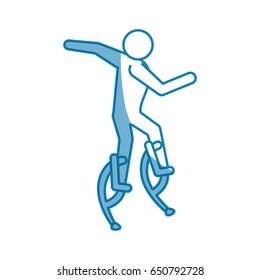 pictogram man jumping with a skyrunner