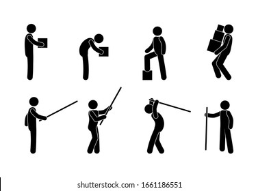 pictogram man with a pole, various poses, stick figure man with box icon
