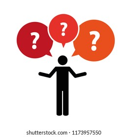 pictogram of a man with question mark talk bubbles vector illustration
