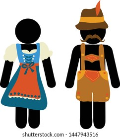 Pictogram Oktoberfest beer festival greeting card. Man and woman icons in traditional Bavarian costume signs for bathroom toilet or restroom lavatory door. Funny Oktoberfest design.