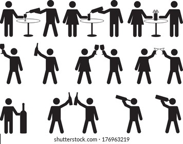 Pictogram people drinking set illustrated on white