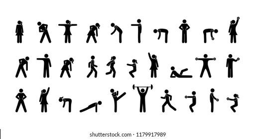 pictogram people, gymnastics, fitness and yoga, various poses and movements, men and women icon set, human silhouettes isolated