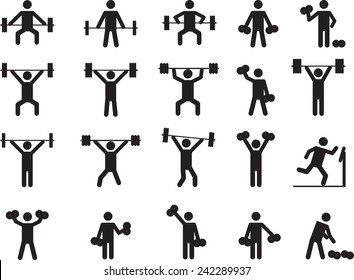 Pictogram people with weights illustrated on white